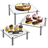 3 Tier Square Tempered Glass Display Stand 8, 10, 13 Inch for Cake, Cupcakes, Desserts, Bakery, Appetizers - Set of 3 Glass Retail Display Raiser. (Clear)