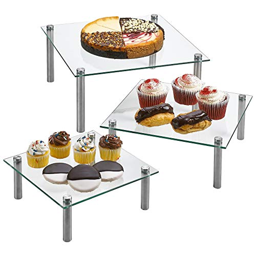 """3 Tier Square Tempered Glass Display Stand 8, 10, 13"""" for Cake, Cupcakes, Desserts, Bakery, Appetizers - Set of 3 Glass Retail Display Raiser."""