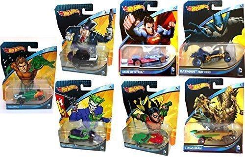 DC Universe 7 Car Hot Wheels Set Batman Vs Superman 2015 robin, penguin, aquaman, joker, hawkman
