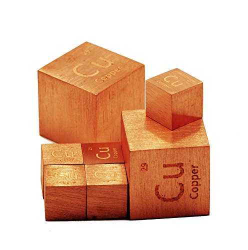 Copper Metal 10mm Density Cube 99.95% Pure for Element Collection by Luciteria Science