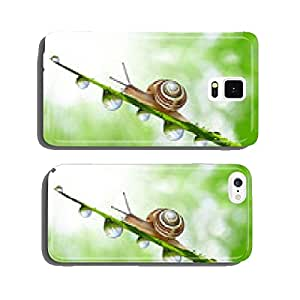 Snail on dewy grass close up cell phone cover case Samsung S6