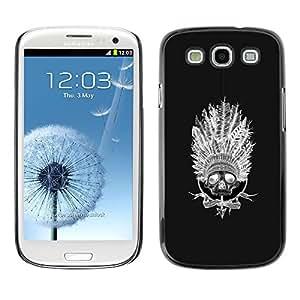 """For SAMSUNG Galaxy S3 III / i9300 / i747 Case , Indio del nativo americano Sombrero Negro"""" - Diseño Patrón Teléfono Caso Cubierta Case Bumper Duro Protección Case Cover Funda"""