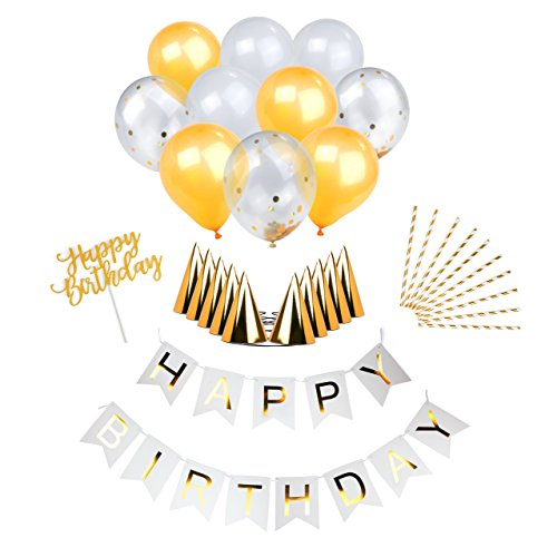 Gold Birthday Party Decoration Kit! Complete Set : Foil Birthday Banner Bunting, Gold Foil Confetti Balloons, Happy Birthday Cake Topper, 10 Gold Striped Straws, 10 Party Hats, Balloons & More!