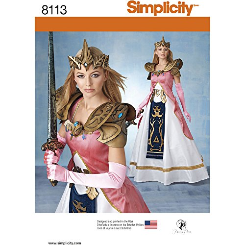 R5 Halloween Costumes (Simplicity Creative Patterns 8113 Misses' Costume with Craft Foam Armor, Belt & Crown Size: R5 (14-16-18-20-22))