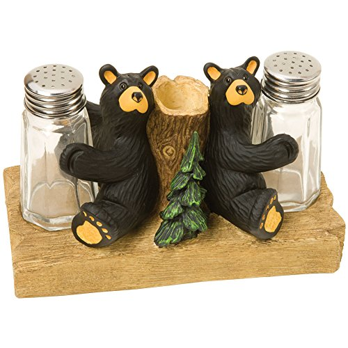 (Bear Toothpick Holder And Salt & Pepper Shaker Set - Glass & Cast Resin Base)