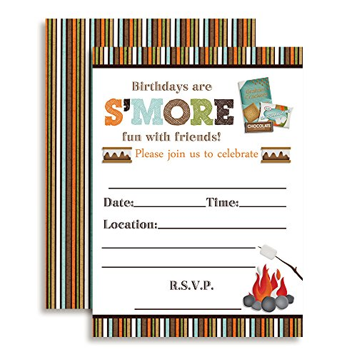 S'mores Themed Birthday Party Celebration Fill In Invitations set of 10 by Amanda Creation