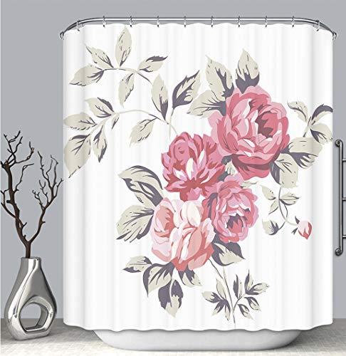 BEICICI Color Shower Curtain Liner Anti-Mildew Antibacterial, Vintage Pink Roses_ Multi-Color,Custom Shower Curtain Bathtub Bathroom Accessories.
