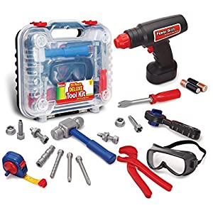 Durable Kids Tool Set with Electronic Cordless Drill and 18 Pretend Play Construction Accessories, with a Sturdy Case