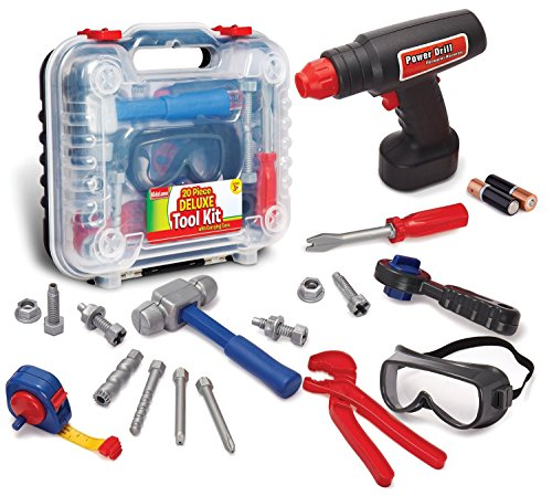 Durable Kids Tool Set with Electronic Cordless Drill and 18 Pretend Play Construction Accessories, with a Sturdy (Christmas Projects For Toddlers)