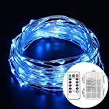 LED String Lights, BEILAI 33ft 8 Modes Waterproof Battery Powered Copper Wire Dimmable 100 LEDs Fairy String Lights Blue With 13Key Remote For Indoor Outdoor Garden (Battery Not Included)