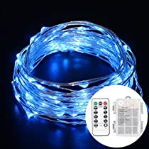 BEILAI 33ft(10m) 100 LEDs Blue Fairy Lights Silver Wire String Lights, 3 AA Battery Powered (not included) Led String Starry Light for Halloween Christmas Wedding Parties