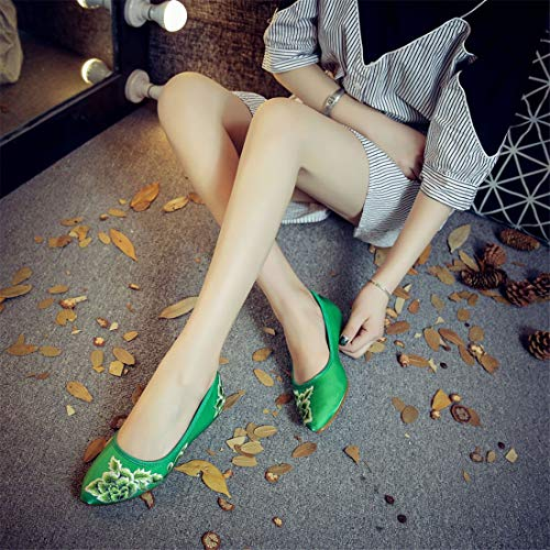 Shoes Espadrilles Wind Ballet National Flats Retro Embroidery Shoes Crude Heel Shoes Women Green Embroidered x4HFtH