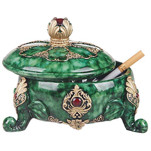 Xgfkljkrelw Ashtray-European Trend with Cover Resin Ashtray Home Living Room Luxury Creative Cute Art Superb Gift (Color : -, Size : -)