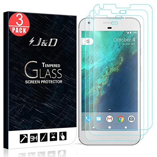 J&D Compatible for 3-Pack Google Pixel Glass Screen Protector, [Tempered Glass] [Not Full Coverage] HD Clear Ballistic Glass Screen Protector for Google Pixel Screen Protector