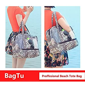 BagTu Beach Tote Bags - Waterproof with Dry Wet Area Shoes Compartment, Beach Swimming Surfing Bag, Workout Gym Bag, Brown, Big Capacity