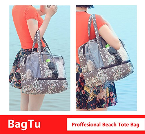 BagTu Beach Tote Bags - Waterproof with Dry Wet Area Shoes Compartment, Beach Swimming Surfing Bag, Workout Gym Bag, Brown, Capacity 14.2 by 11.4 by 7.1 inch by BagTu (Image #2)