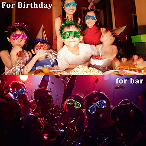Randosk 24 Pack LED Glasses Glow in The Dark Party Favors Supplies for Kids Light Up Toy Bulk with Flash Light 3 Replaceable Battery for Mother's Day Birthday Holiday Outdoor Party by Randosk (Image #4)