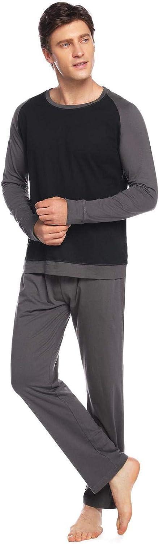 Abollria Pijamas Hombre Algod/ón 2 Piezas Mangas Larga Pantalon Largo Invierno C/ómodo y Agradable