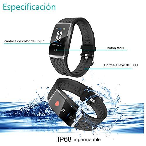 Willful Pulsera Actividad, Impermeable IP68 Pulsera Inteligente con Pulsómetro, Reloj Inteligente para Deporte, Podómetro, Pulsera Deporte para Android y iOS...