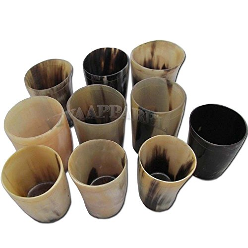 Buddha4all Natural Genuine Buffalo Mix Horn Tankard Beer Wine Mug Drinking Glass Set of 10