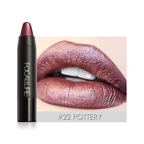 RNTOP FOCALLURE Matte Lipstick Pen Waterproof Lasting 8 Color Optional Lip Makeup (C)
