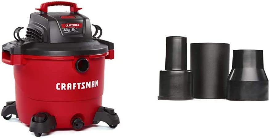 CRAFTSMAN CMXEVBE17595 16 Gallon 6.5 Peak HP Wet/Dry Vac, Heavy-Duty Shop Vacuum with Attachments & CMXZVBE38673 3Piece Wet/Dry Vacuum Adapter Connector Kit