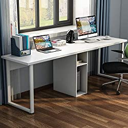 "LITTLE TREE 78"" Extra Large Double Workstation Computer Desk for Two Person, Simple Modern Style Office Desk with Storage (All White)"