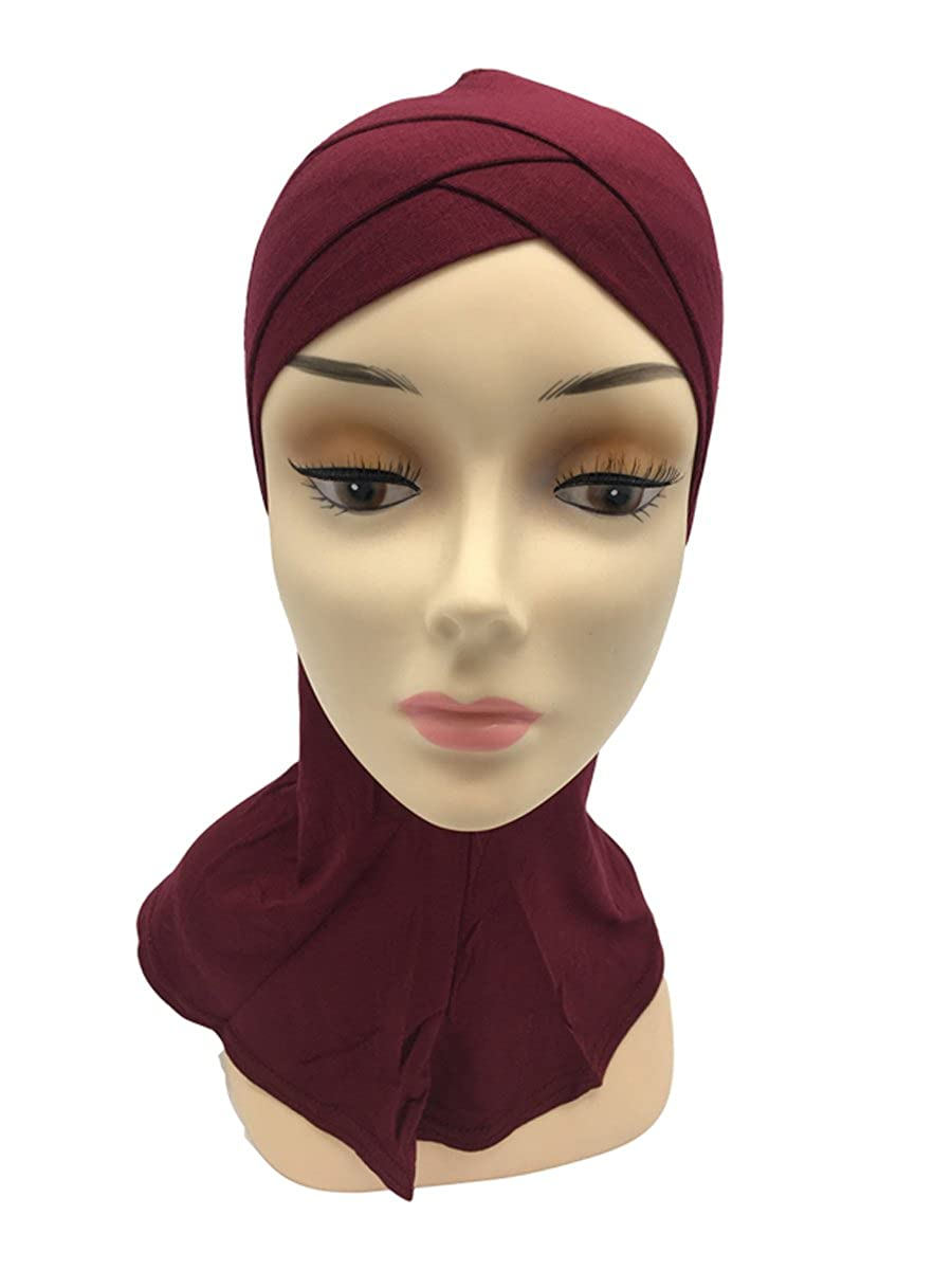 Double Crossover Pure Color Cotton Muslim Arab Hijab Cap Women Scarf