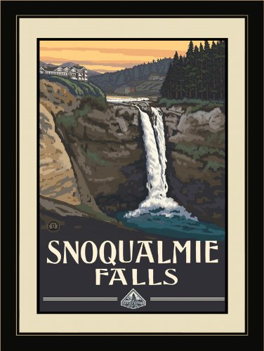 Northwest Art Mall PAL-0387 LFGDM Snoqualmie Falls Framed Wall Art by Artist Paul A. Lanquist, 20 by - Mall Snoqualmie