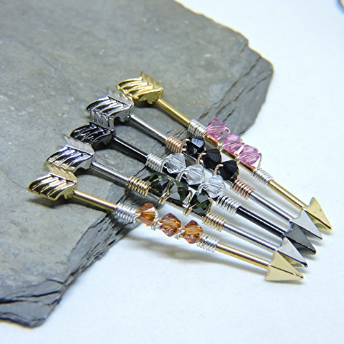 (Arrow Industrial Barbell With Swarovski Crystal Birthstone Wrapped in Sterling Silver or Rose or Yellow Gold Fill - Scaffold Upper Ear)