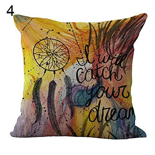 LuffyBin- Home Fashion Dream Catcher Feather Linen Pillow Case Room Sofa Soft Square Decor Cushion Cover Grey Embroidery 26x26 Yellow Modern India Large Spin Lace Industrial Kids Carto (Patio Square Furniture Covers Uk)
