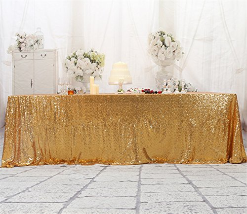 Eternal Beauty 90'' X 156'' Light Gold Sequin Tablecloth Wedding Banquet Party Rectangle Table Cover