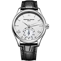 Frederique Constant Men's 'Horological Smart Watch' Swiss Quartz Stainless Steel and Leather Casual, Color:Silver-Toned (Model: FC-285S5B6)