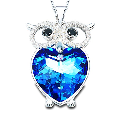 Blue Heart Crystal Pendant Necklaces Women Owl Necklace Copper Jewelry