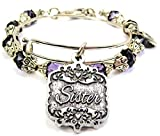 Chubby Chico Charms Sister Victorian Scroll Crystal Collection Bracelet Set in Plum Purple