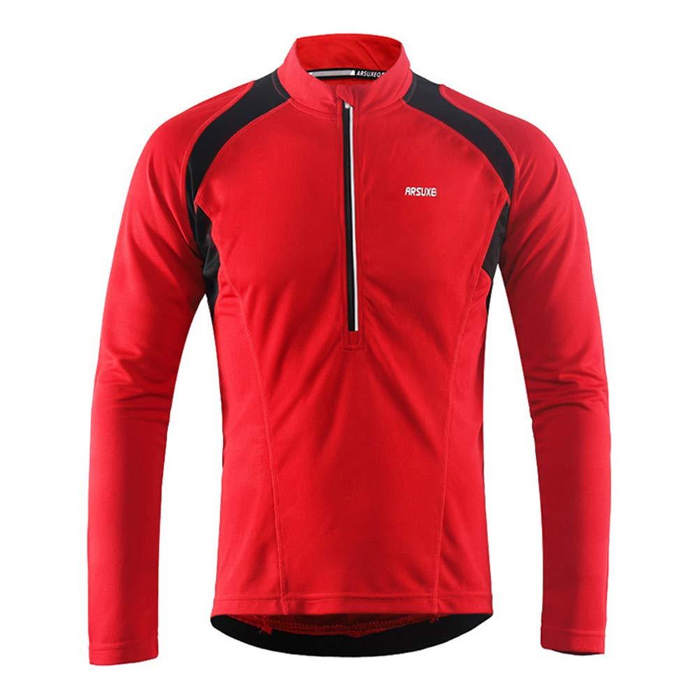 Männer Halb Zipper Radtrikot Fahrrad-Hemd mit Langen Ärmeln MTB Mountain Bike Trikots Kleidung tragen