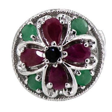Rare Natural Emerald, Ruby, Sapphire Cross 925 Sterling Silver Ring (Ruby Genuine Cross)