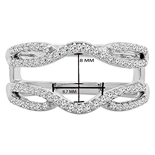 Dazzlingrock Collection 0.35 Carat (ctw) 10K White Diamond Wedding Band Enhancer Guard Double Ring 1/3 CT, White Gold, Size 6.5 by Dazzlingrock Collection (Image #4)