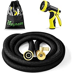 EASYHOSE Expandable Garden Hose -25 foot Black Extra Strength Stretch Material with Brass Connectors - Bonus 9 Way Spray Nozzle+Free Storage Bag+12 Months Manufacturers Warranty (25ft, Black)