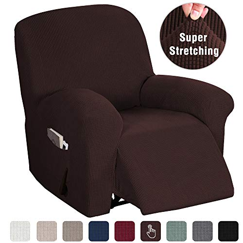 Recliner Chair 1 Piece Sofa Slipcovers Furniture Covers for Moving Stretch Sofa Covers for Recliner Chair Washable Slipcover Sofa Couch Covers Feature Spandex Jacquard, Brown