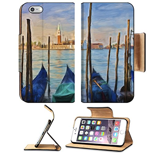 MSD Premium Apple iPhone 6 Plus iPhone 6S Plus Flip Pu Leather Wallet Case Impressionist painting of Gondolas moored at Molo San Marco in Venice Italy with San IMAGE - Premium Marcos San