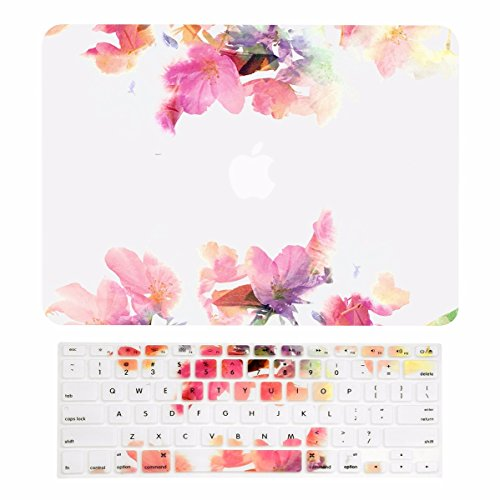 TOP CASE –2 in 1 Floral Reflection Pattern Rubberized Hard Case + Keyboard Cover Compatible with MacBook Air 13 A1369 / A1466 - Not Compatible 2018 Version A1932 Retina Display - Violet Reflection