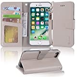 Arae iphone 7 case, iPhone 8 case, PU leather wallet Case with Kickstand and Flip Cover for iPhone 7 (2016)/iPhone 8 (2017) - light grey