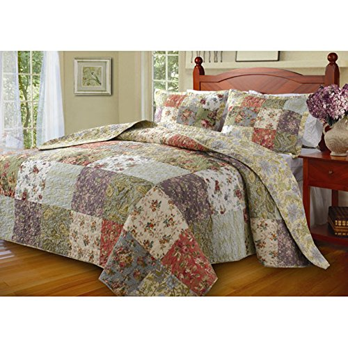 3 Piece Oversized Green Purple Patchwork Bedspread King Set, Quilted French Country Damask Floral Rustic Flowers Pattern Prairie Themed Farmhouse Charm Cottage Oversize to The Floor Checked, Cotton DI