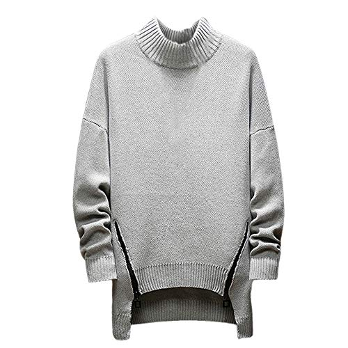 Realdo Men's Turtleneck Sweater, Mens Fashion Casual Solid Long Sleeve Pullover Long Hem Blouse Tops(X-Large,Gray)