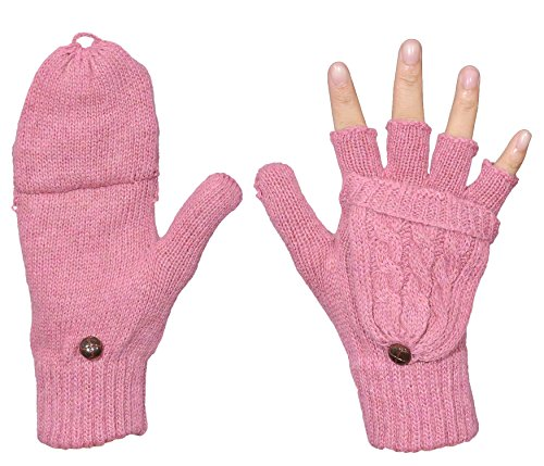 Beurlike Women's Winter Gloves Warm Wool Knitted Convertible Fingerless Mittens (Pink) ()