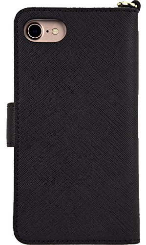 Michael Kors Saffiano Leather Folio Wallet Case for iPhone 7 / 8 - 4.7 inch - Black