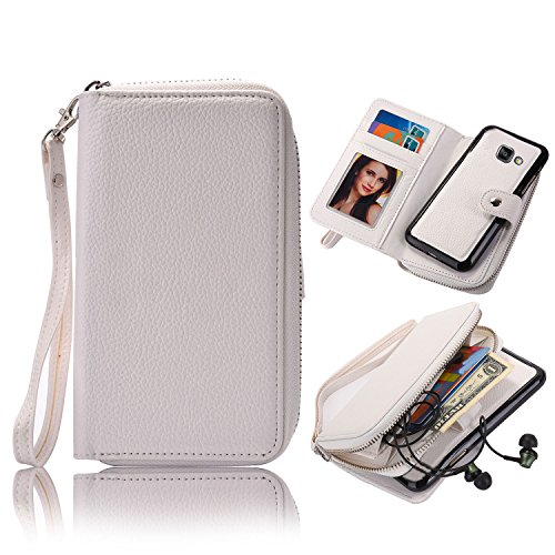 Galaxy A5 2017 Detachable Wallet Case, Vandot Zipper Cash Money Storage Multi-Function 2in1 Magnetic Separable Wallet Case Flip Cover with Credit Card Holder and Removable Phone Back Case Cover para S Zipper-03