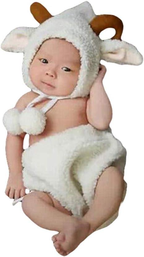 FENICAL Disfraces de Fotos para bebés Traje de Oveja Suave y cómodo Traje de Traje de Foto para bebé niño niña recién Nacido 1 Juego (0-6 Meses bebé)