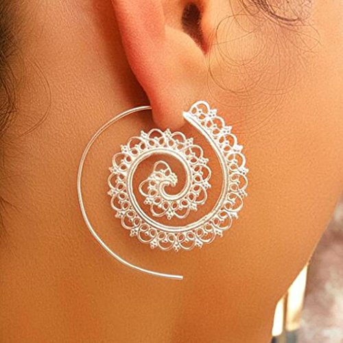Iuhan Fashion Vintage Earring Women Circular Spiral Party Earrings Jewelry Accessories Gifts (A)